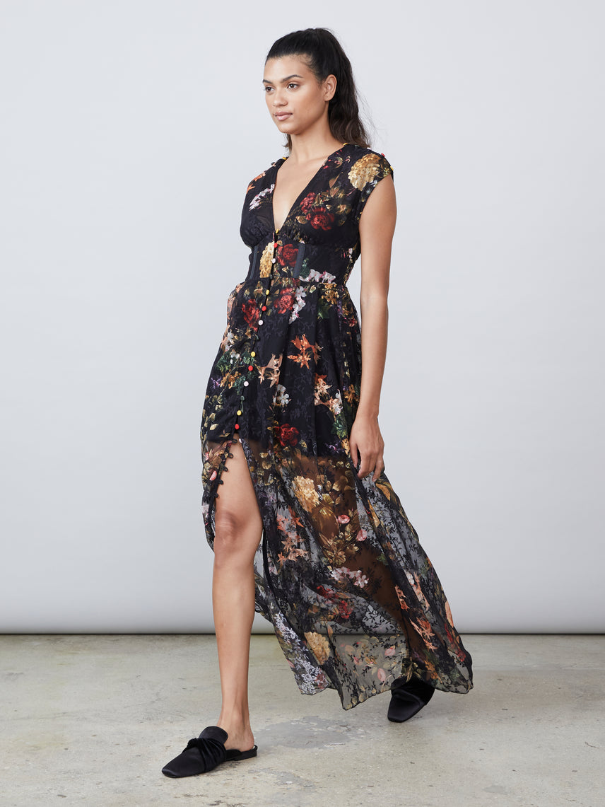 Floral printed mesh maxi dress Alternate