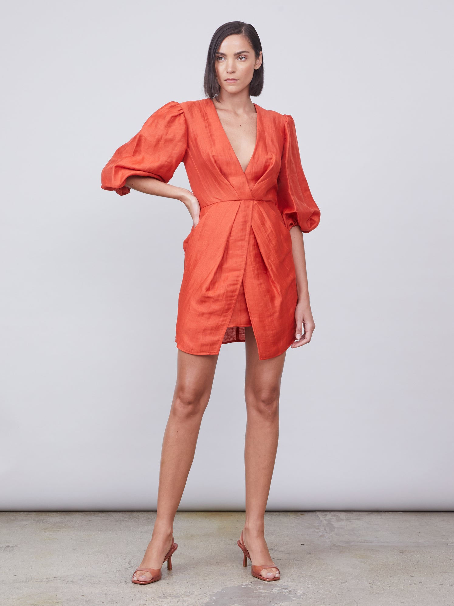 Terracotta deep-v puff sleeve dress