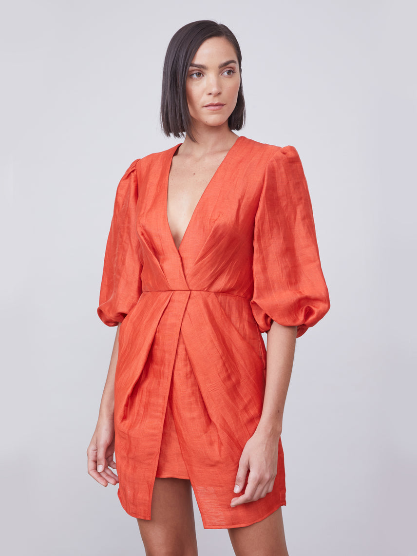 Terracotta deep-v puff sleeve dress Alternate