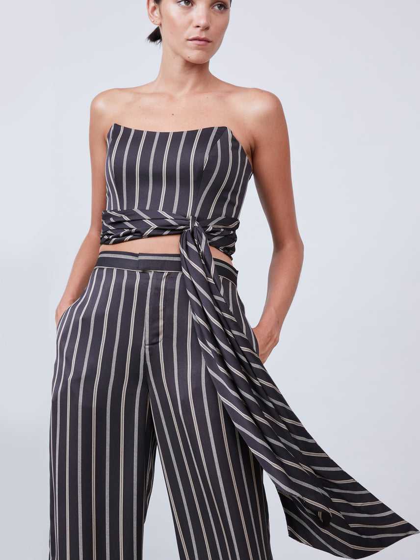 Stripe-patterned strapless top with attached front sash