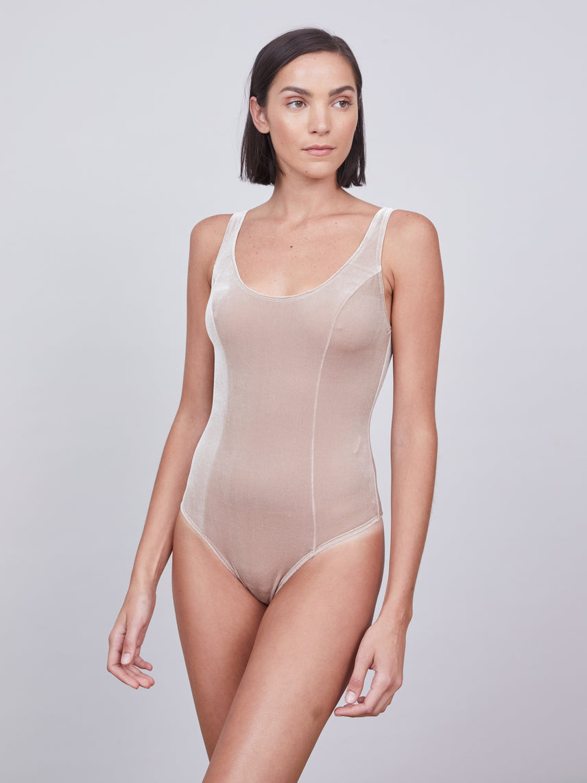 Stretch velvet bodysuit with a deep scoop neck and low scoop back Alternate