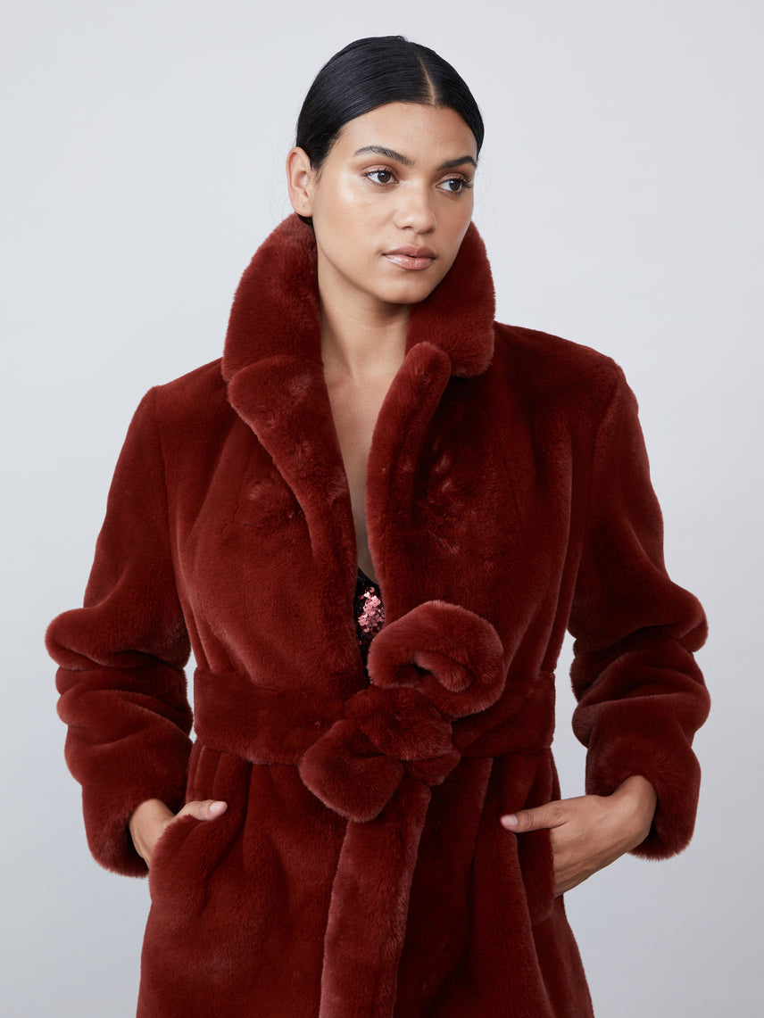 Robe style bordeaux faux fur coat Alternate