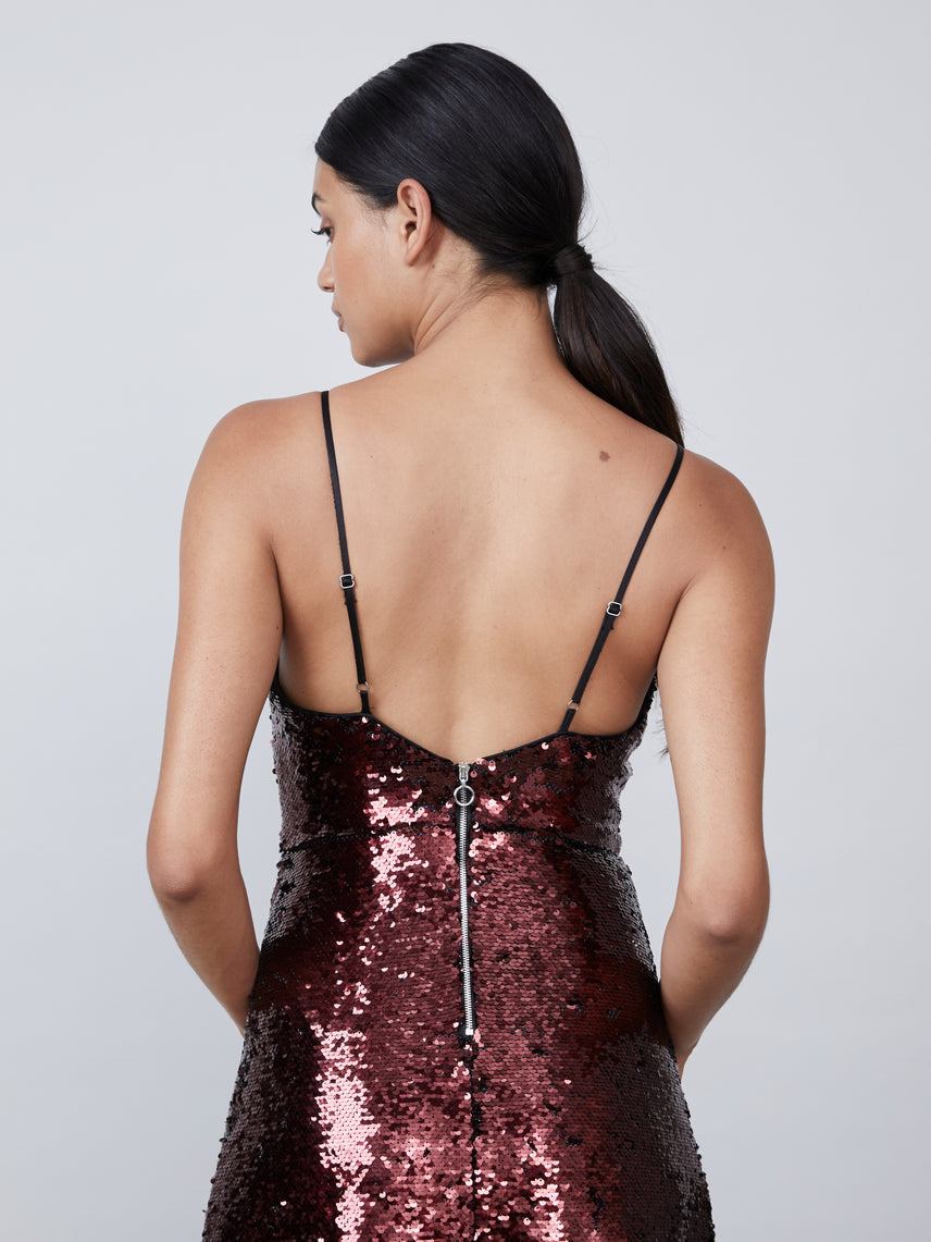 Sequin deep v dress with spaghetti straps