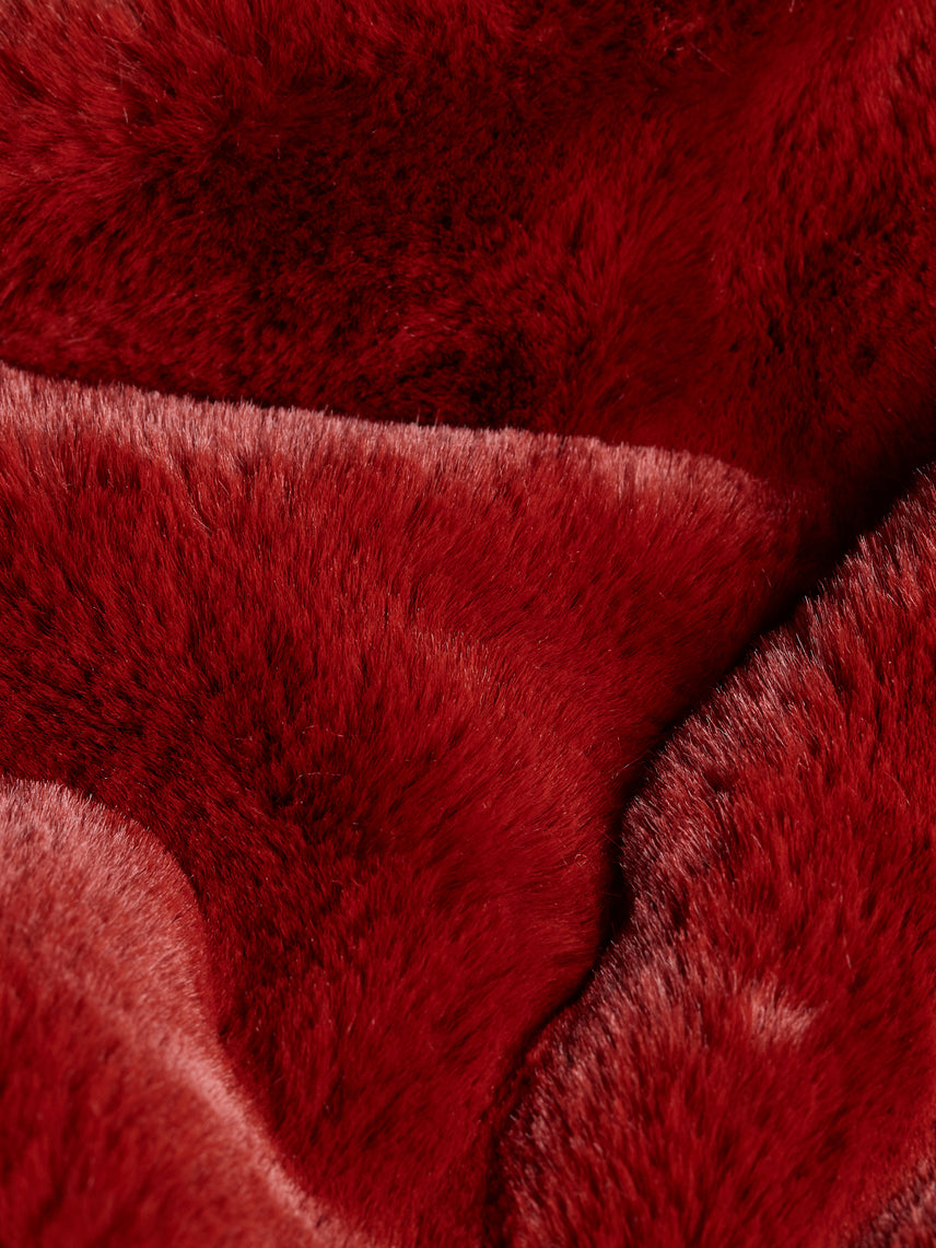 Bordeaux faux fur close up
