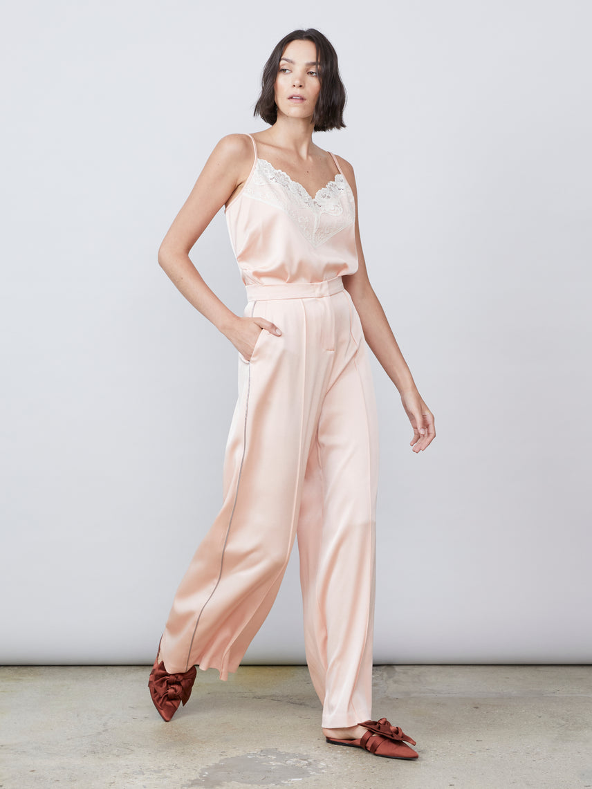 Satin luxe wide leg high waisted hook and bar side paneled salmon pant