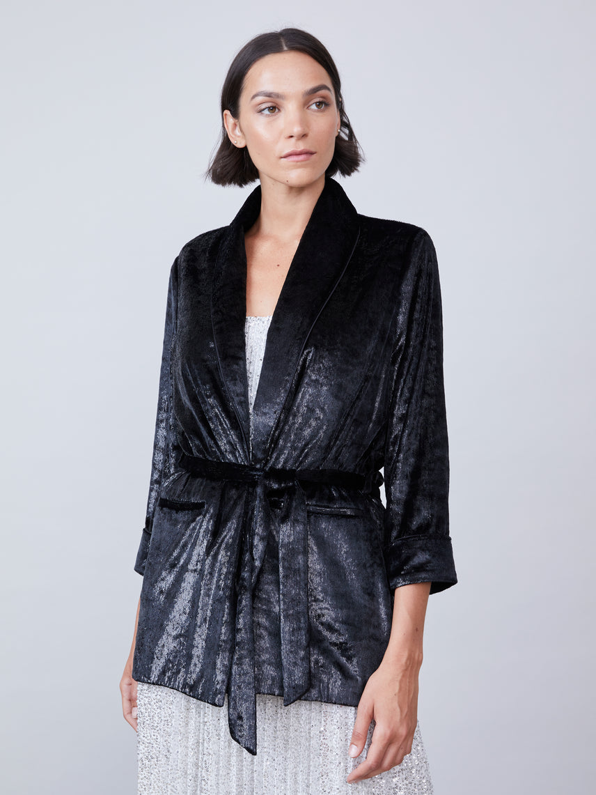 Metallic velvet robe jacket with front tie sash