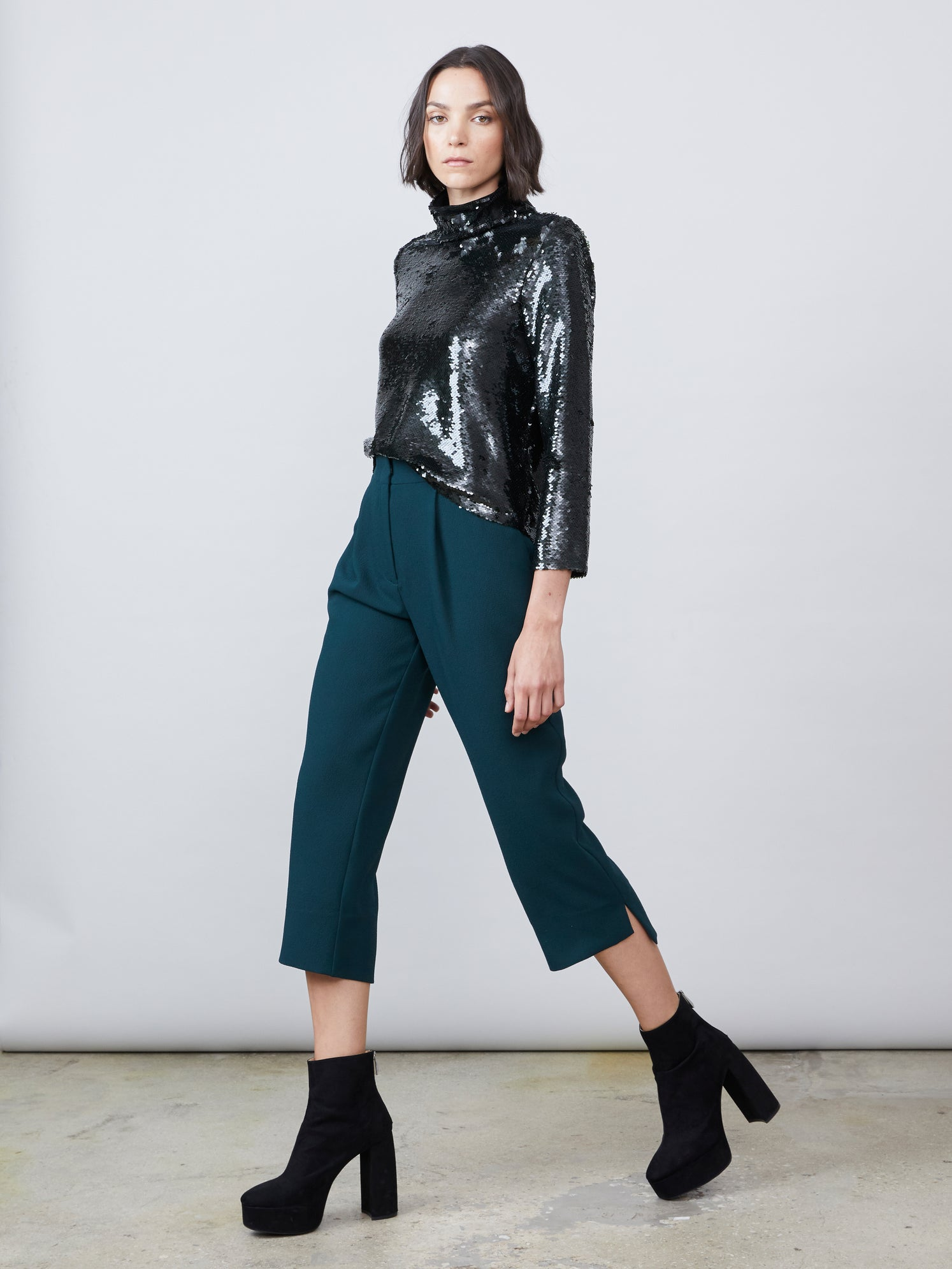 Dark green cropped crepe hook and eye pant Alternate