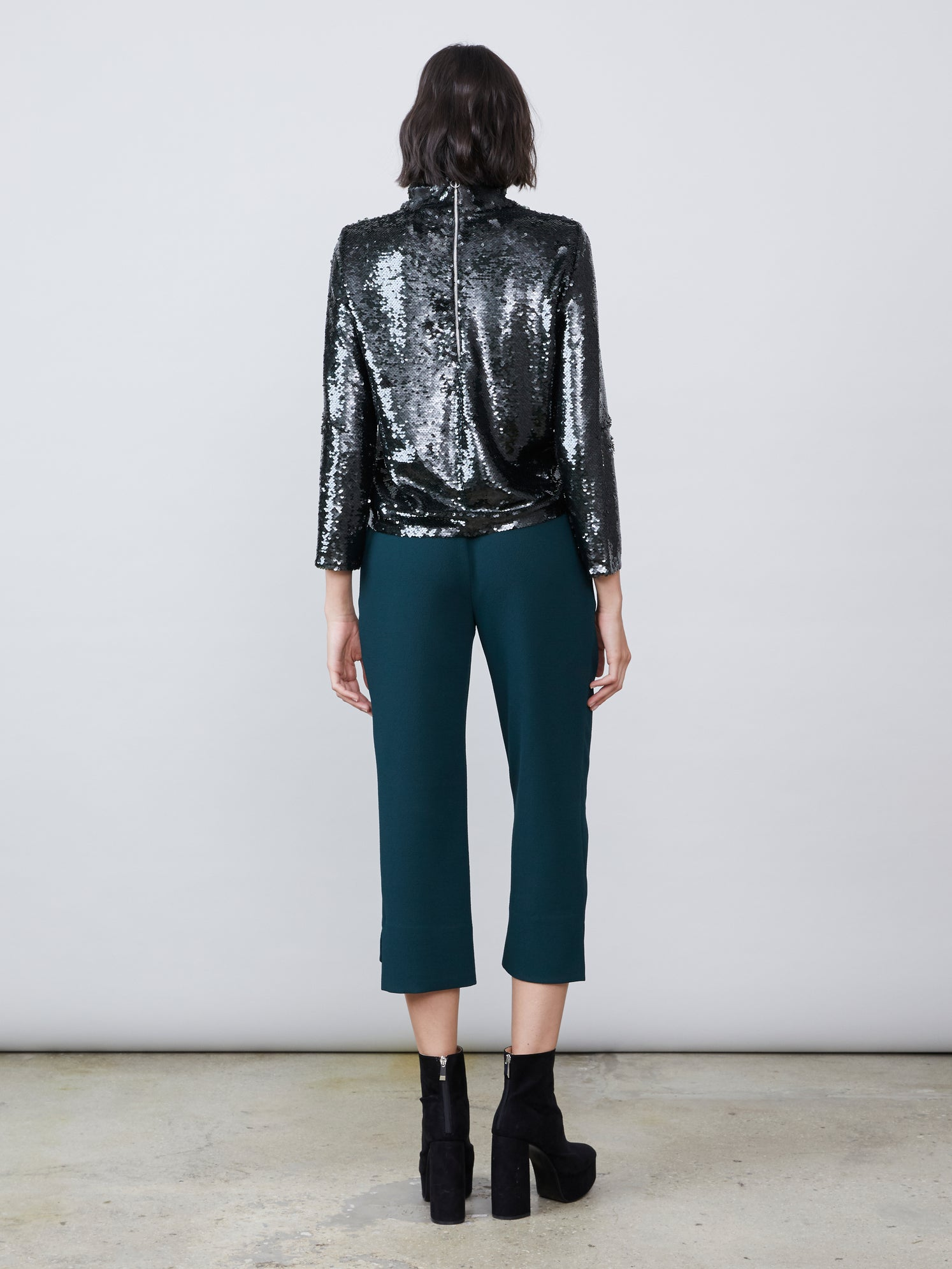 Dark green cropped crepe hook and eye pant