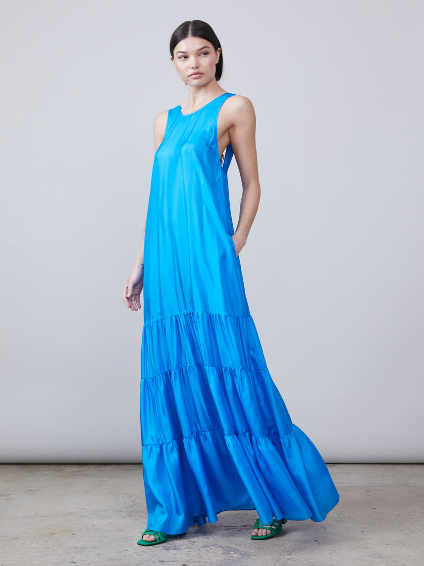 Cotton silk maxi-length gown with belt tie