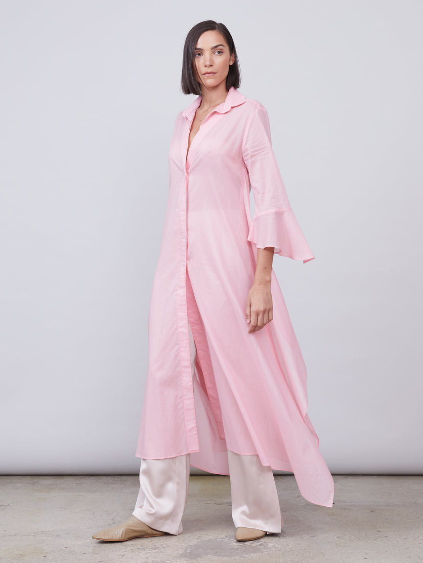 Button down maxi dress with ruffled sleeve and hanky hem