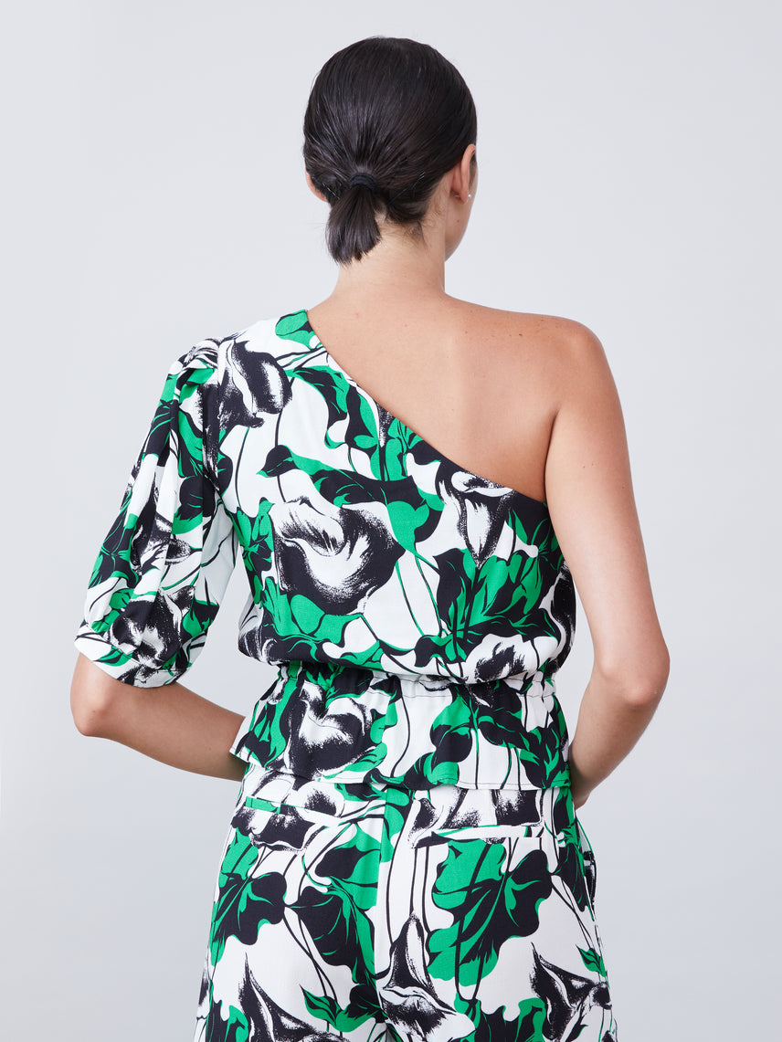 Floral print one shoulder top with cinched waist Alternate