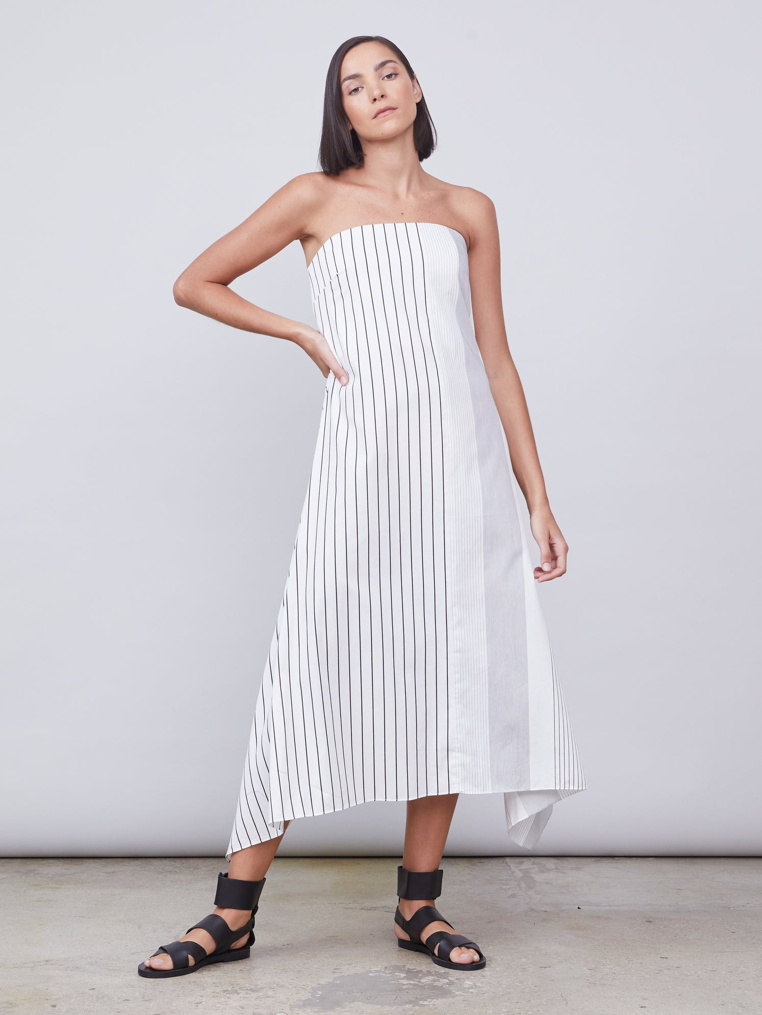 Sleeves striped dress with optional belt tie Alternate