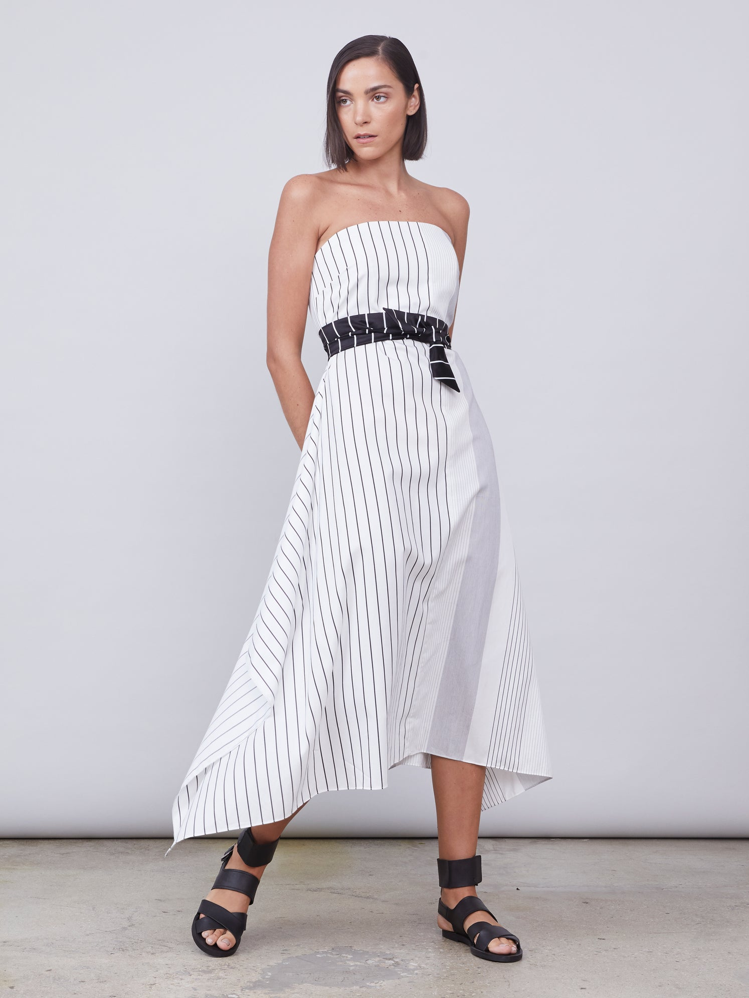 Sleeves striped dress with optional belt tie
