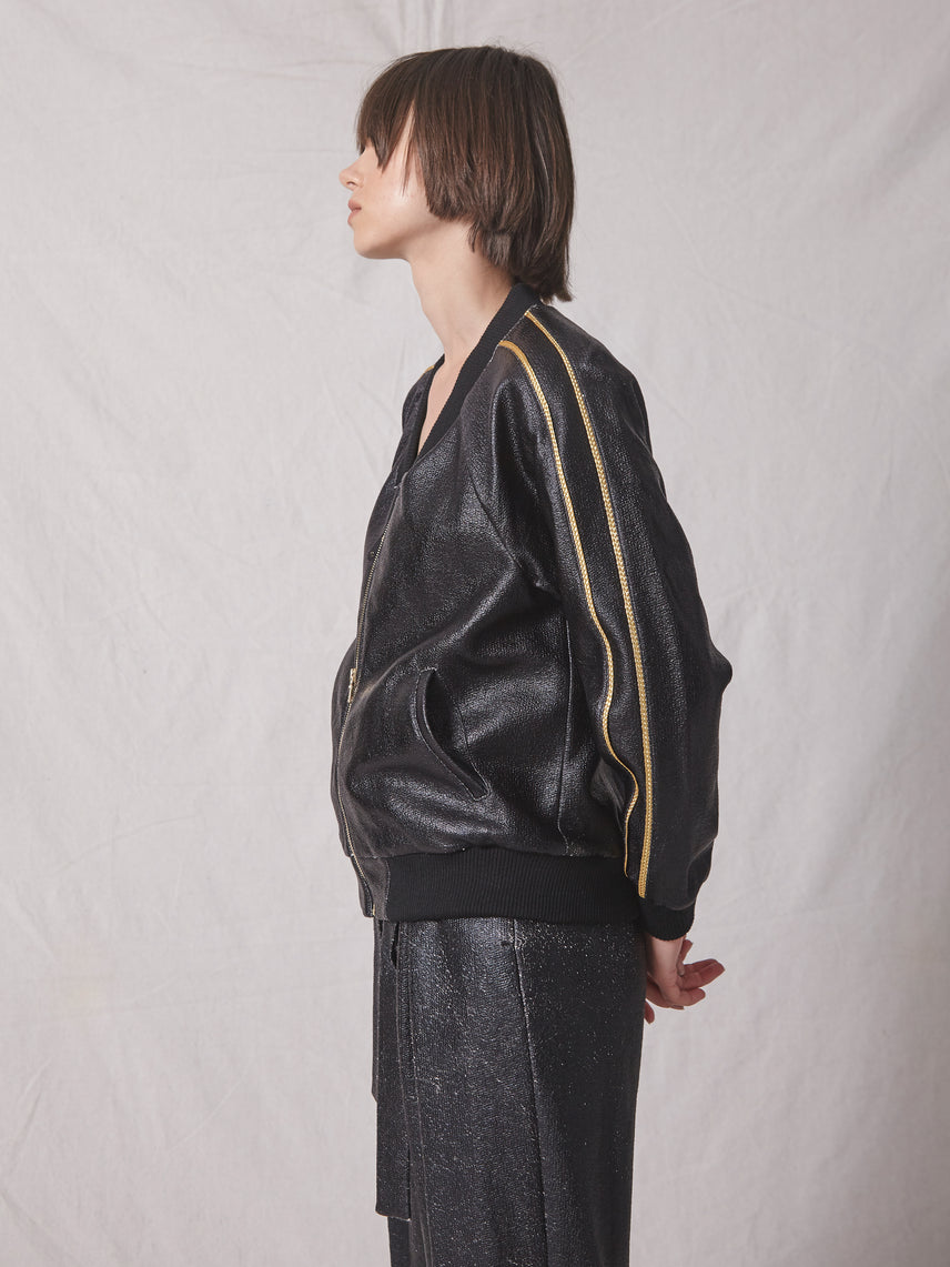 Foiled knit jersey bomber jacket with gold zipper Alternate