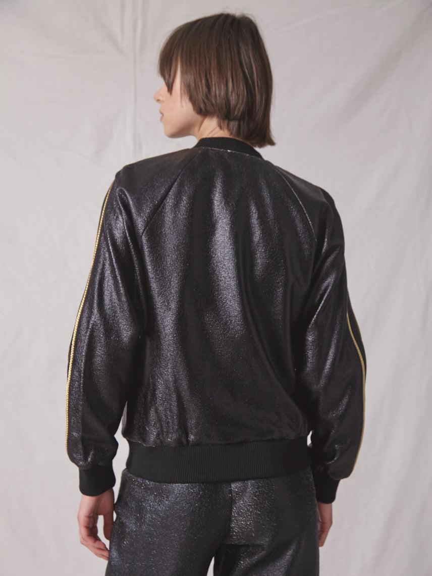 Foiled knit jersey bomber jacket with gold zipper