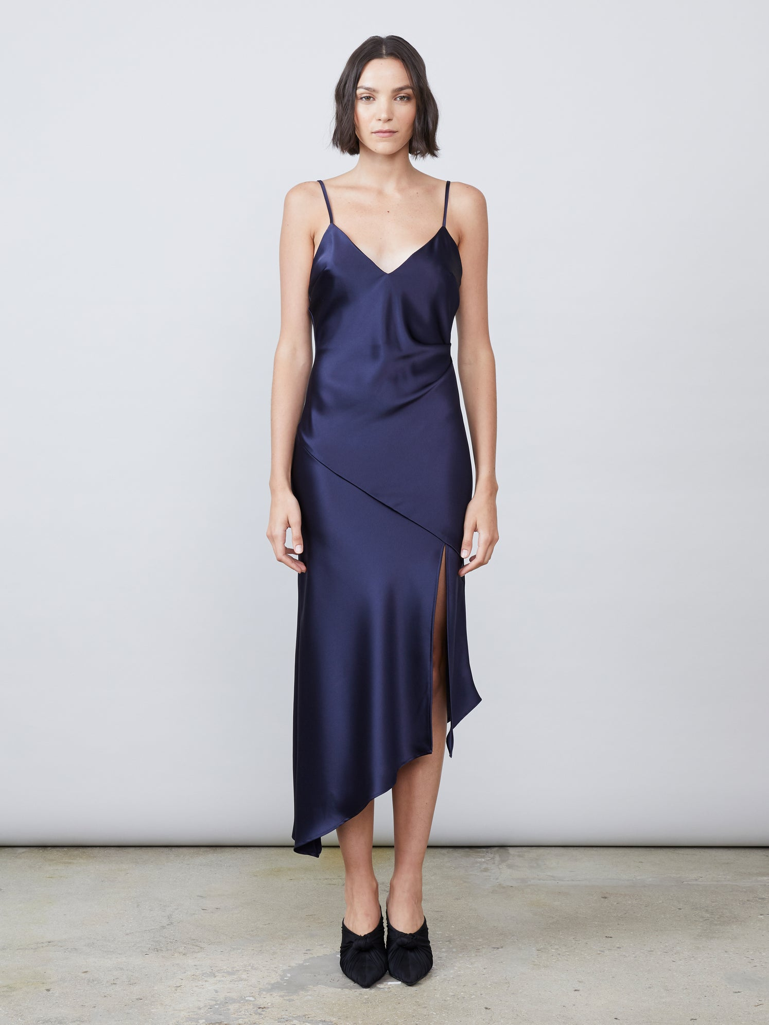 Satin luxe deep v draped slip dress Alternate