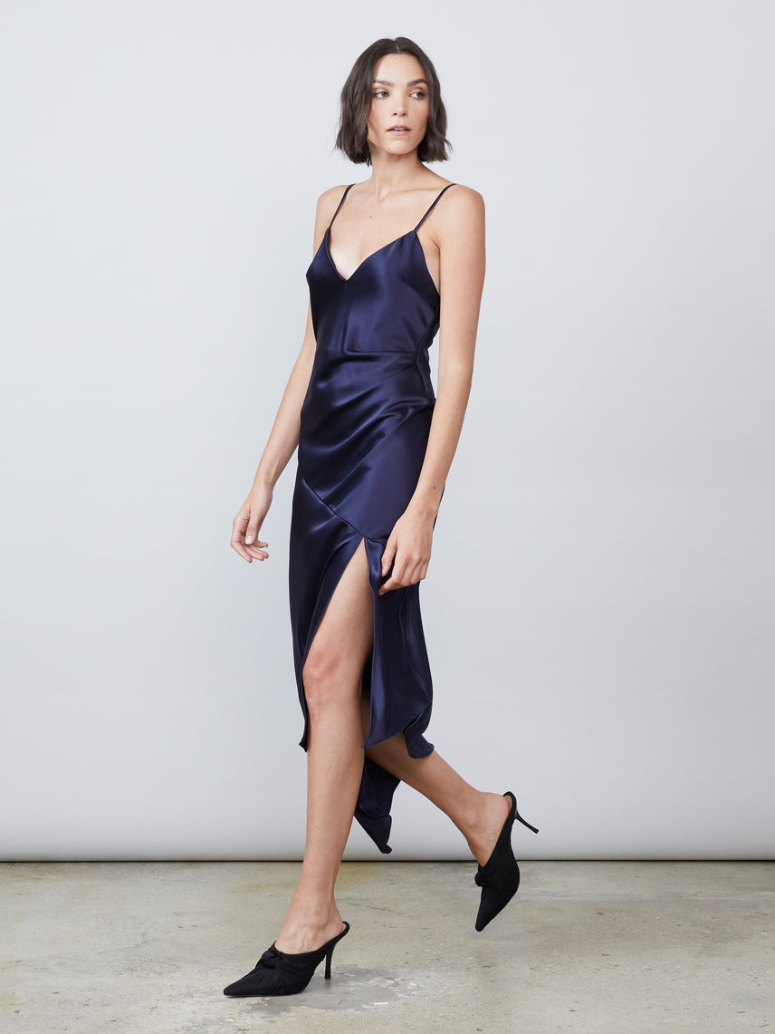 Satin luxe deep v draped slip dress