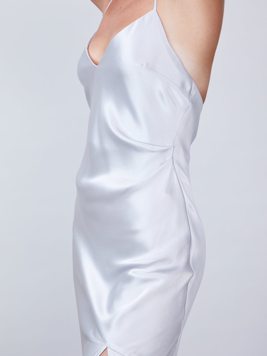 Satin asymmetrical slip dress with deep v-neckline and front slit Alternate