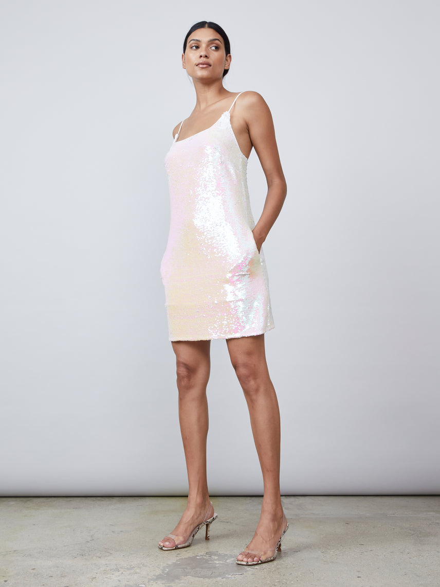Iridescent sequin mini dress with square neckline and pockets