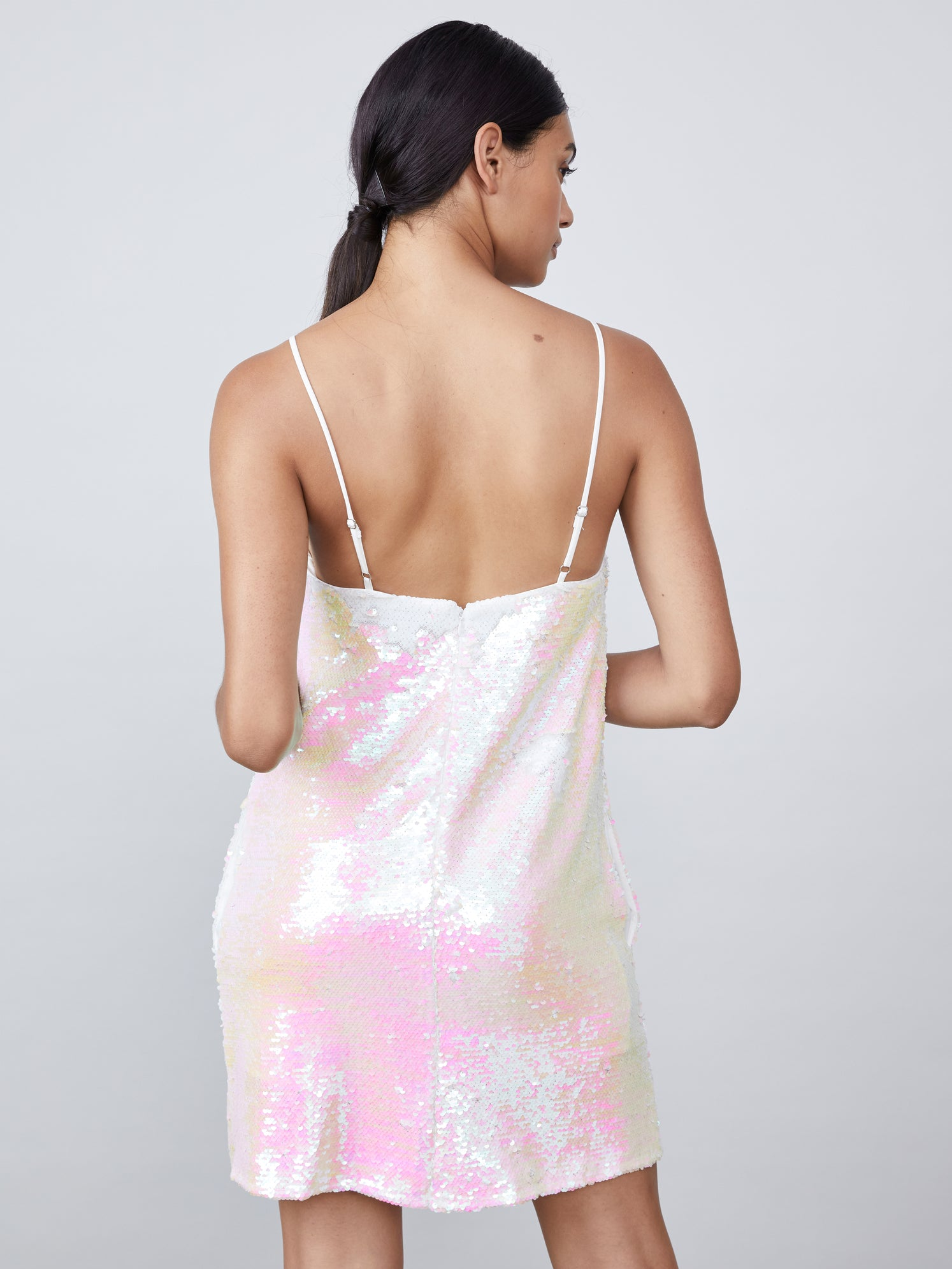 Iridescent sequin mini dress with square neckline and pockets Alternate