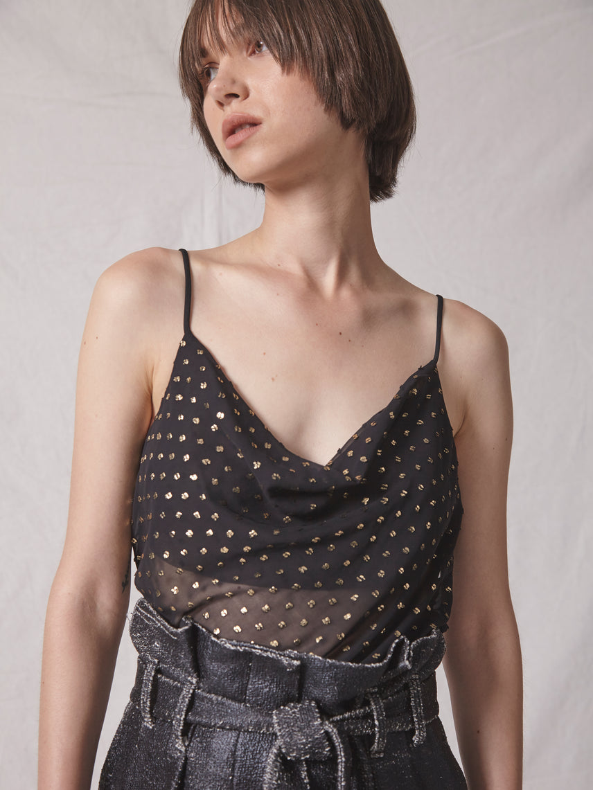 Semi-sheer chiffon dot jacquard cowl neck cami with side buttons