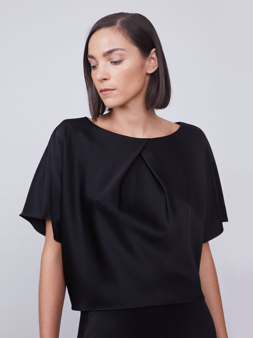 Matte satin cropped pleated dolman top