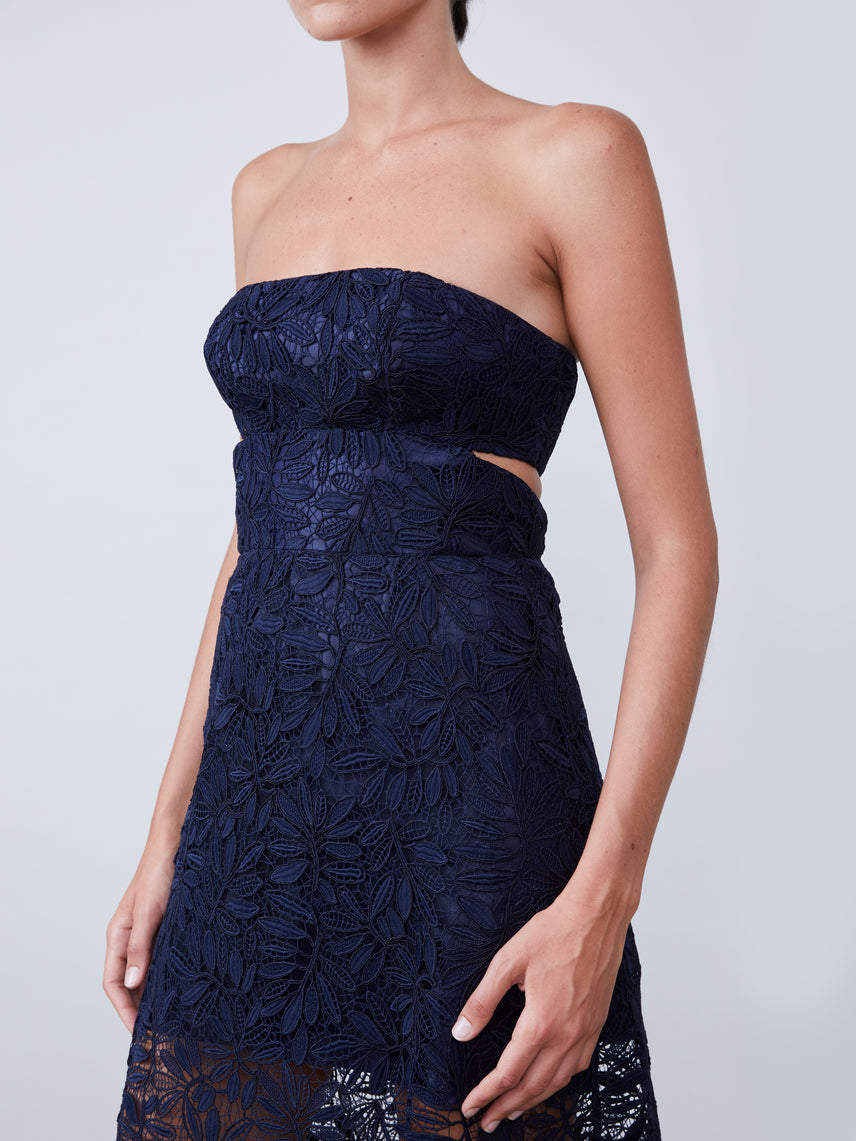 Strapless semi-sheer ankle-length lace dress with cutout back