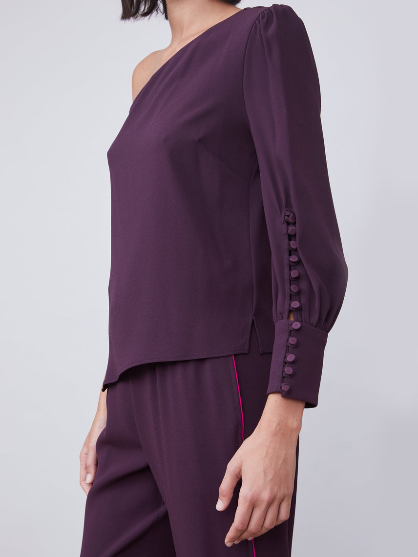 One shoulder top with cuff button detail Alternate