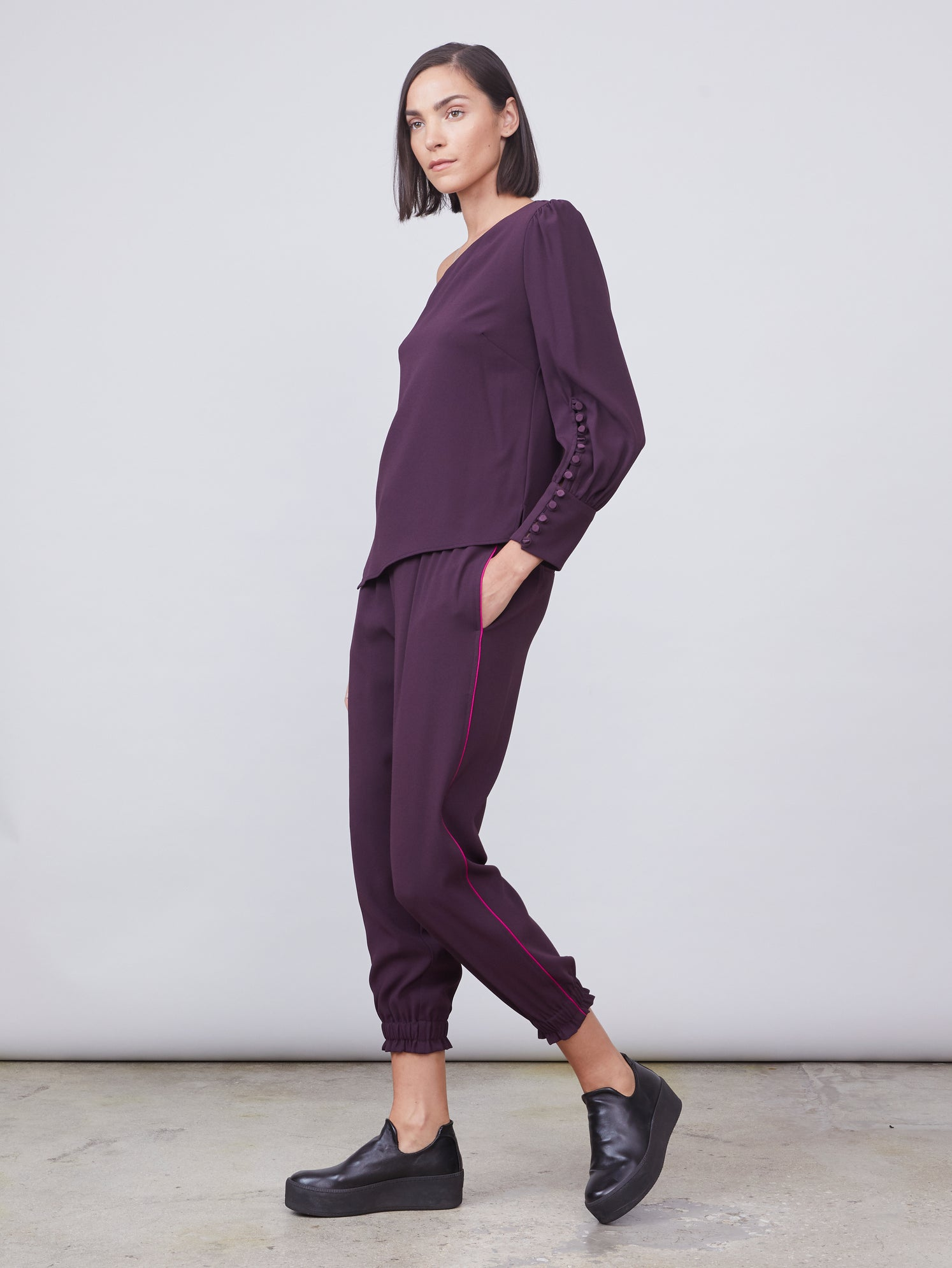 Shirred waist track pant with drawstring