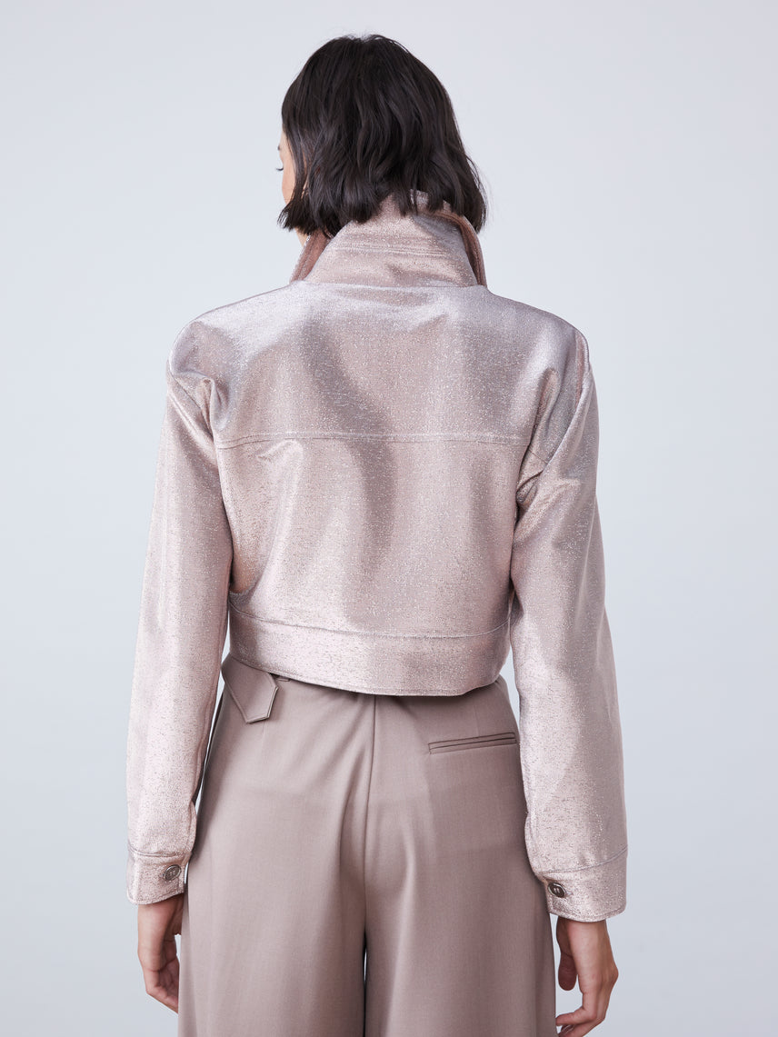Metallic stretch twill jacket