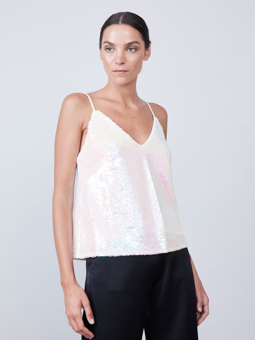Iridescent sequin low v-neckline cami with adjustable straps