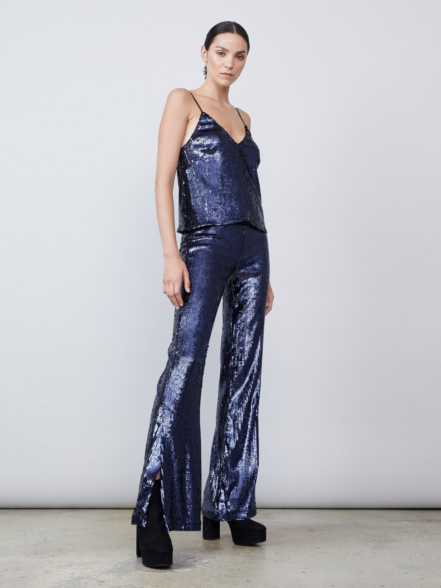 Sequin flared leg pant with exposed side zipper