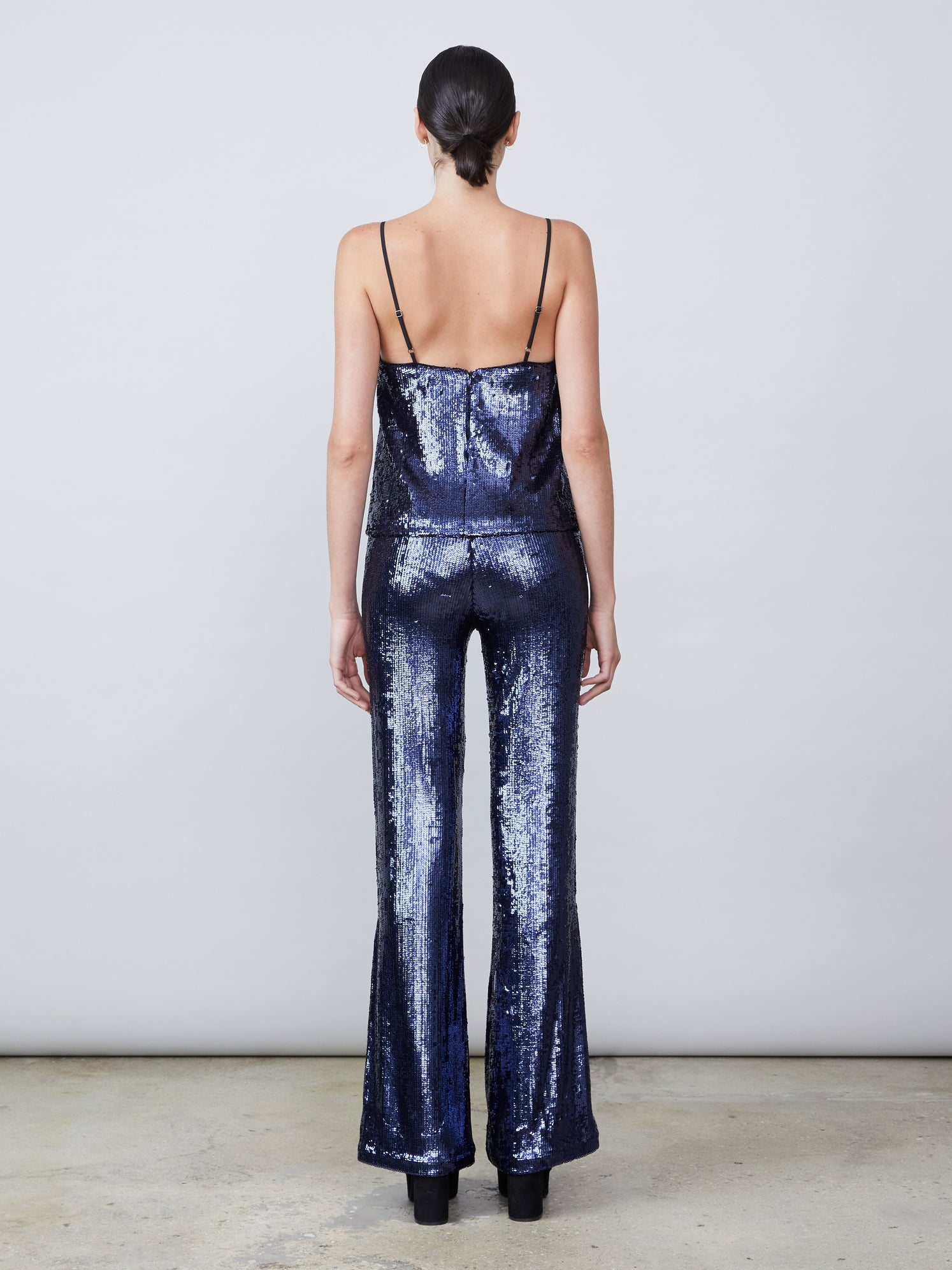 Sequin flared leg pant with exposed side zipper Alternate