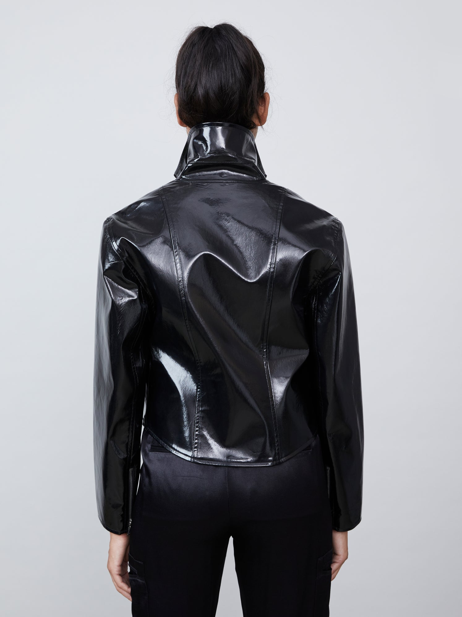 Black vegan patent leather biker jacket
