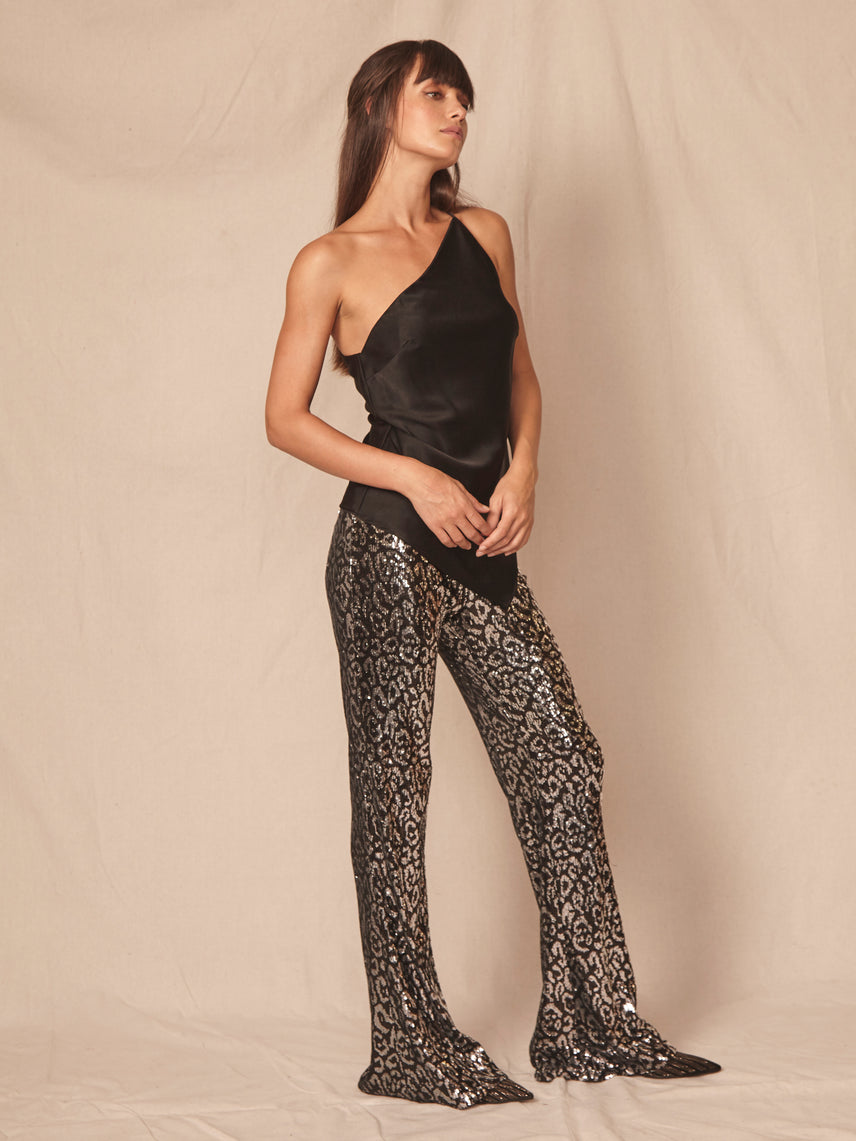 Flared leg sequin leopard print pant with exposed side zipper