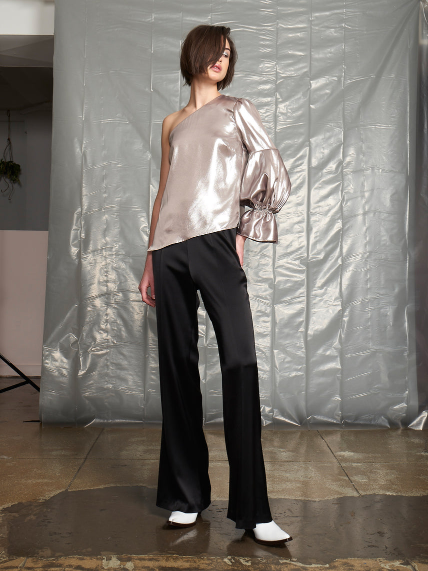Flared leg satin pant with exposed side zipper