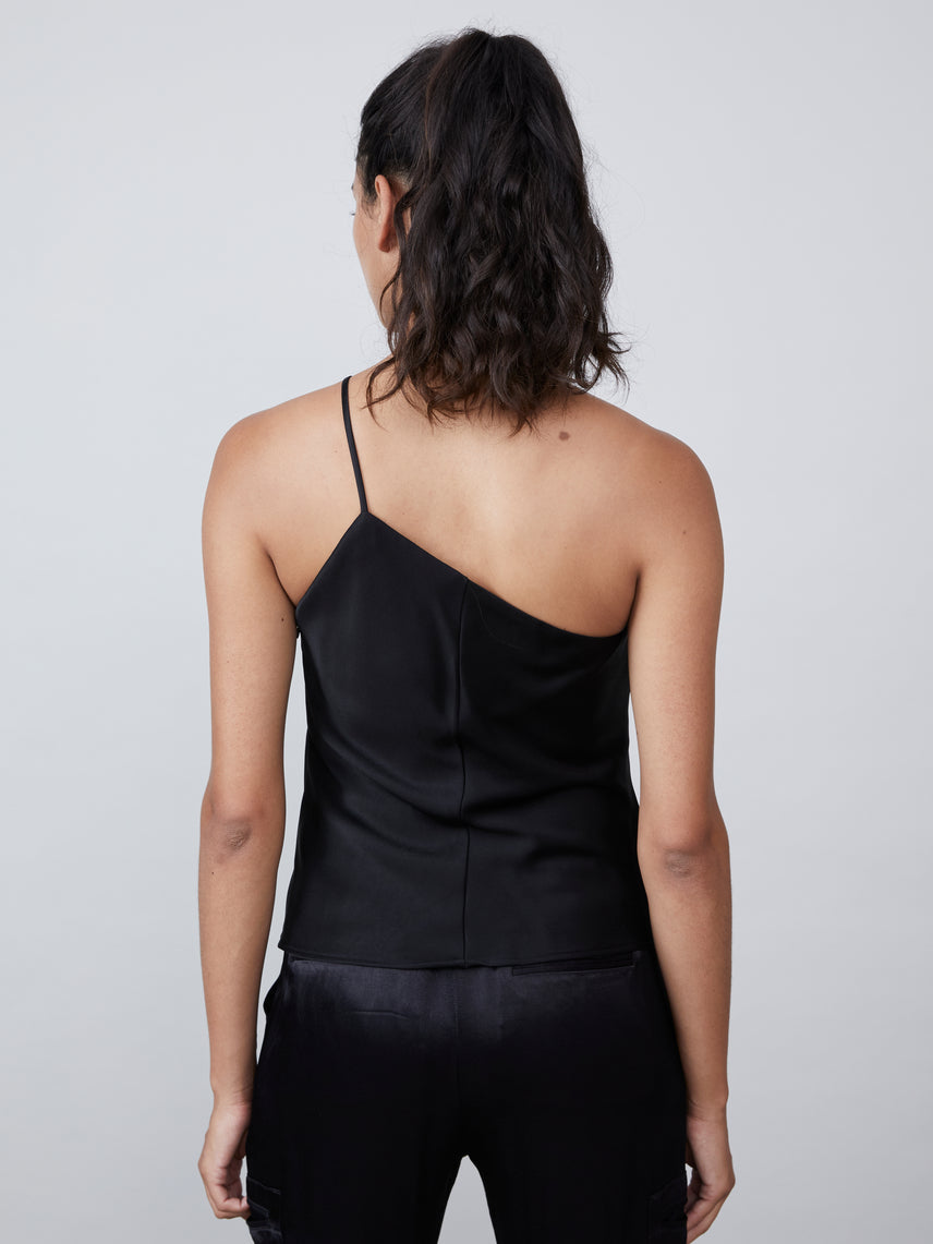 Satin asymmetrical camisole with one shoulder neckline Alternate