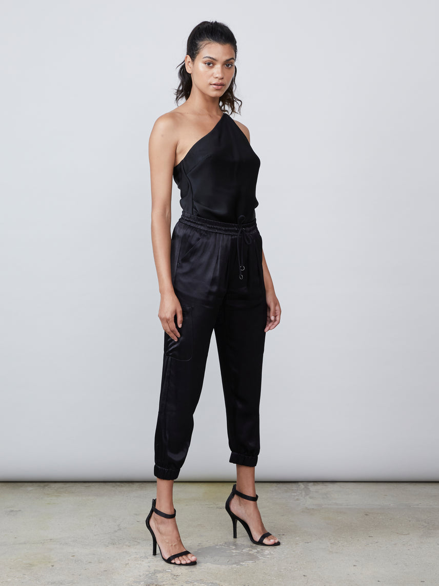 Black satin cargo pant Alternate