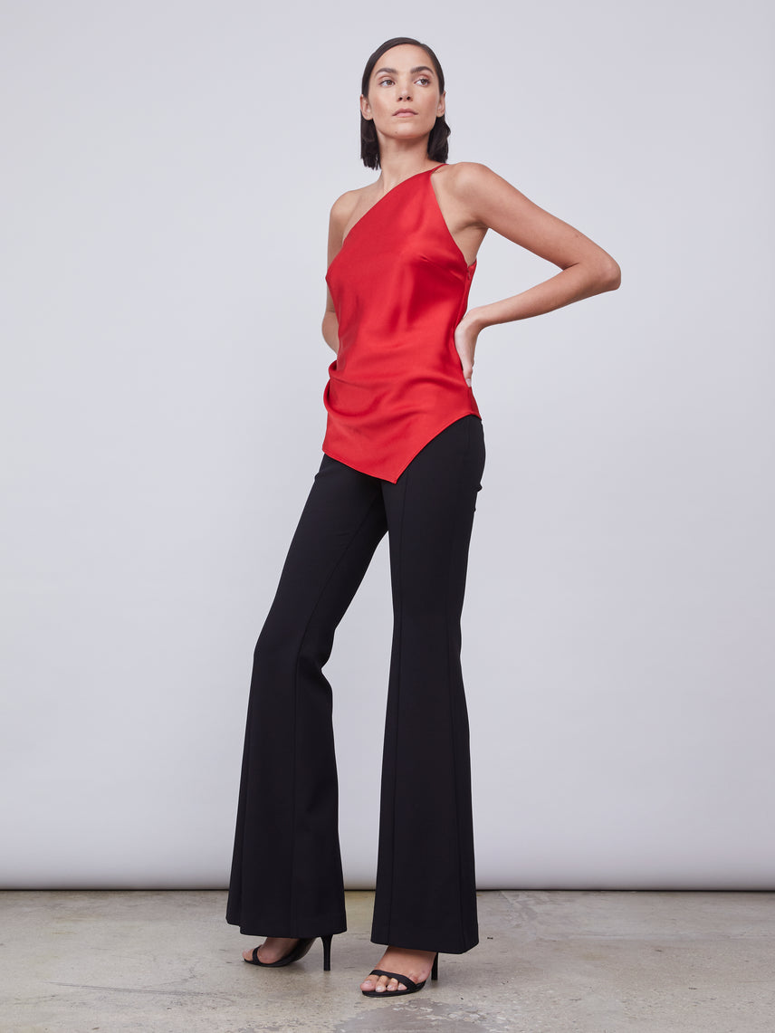 Satin asymmetrical camisole with one shoulder neckline
