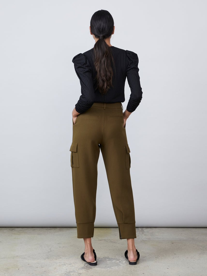 Woven cargo pant with lower side pockets and cuffed hem Alternate