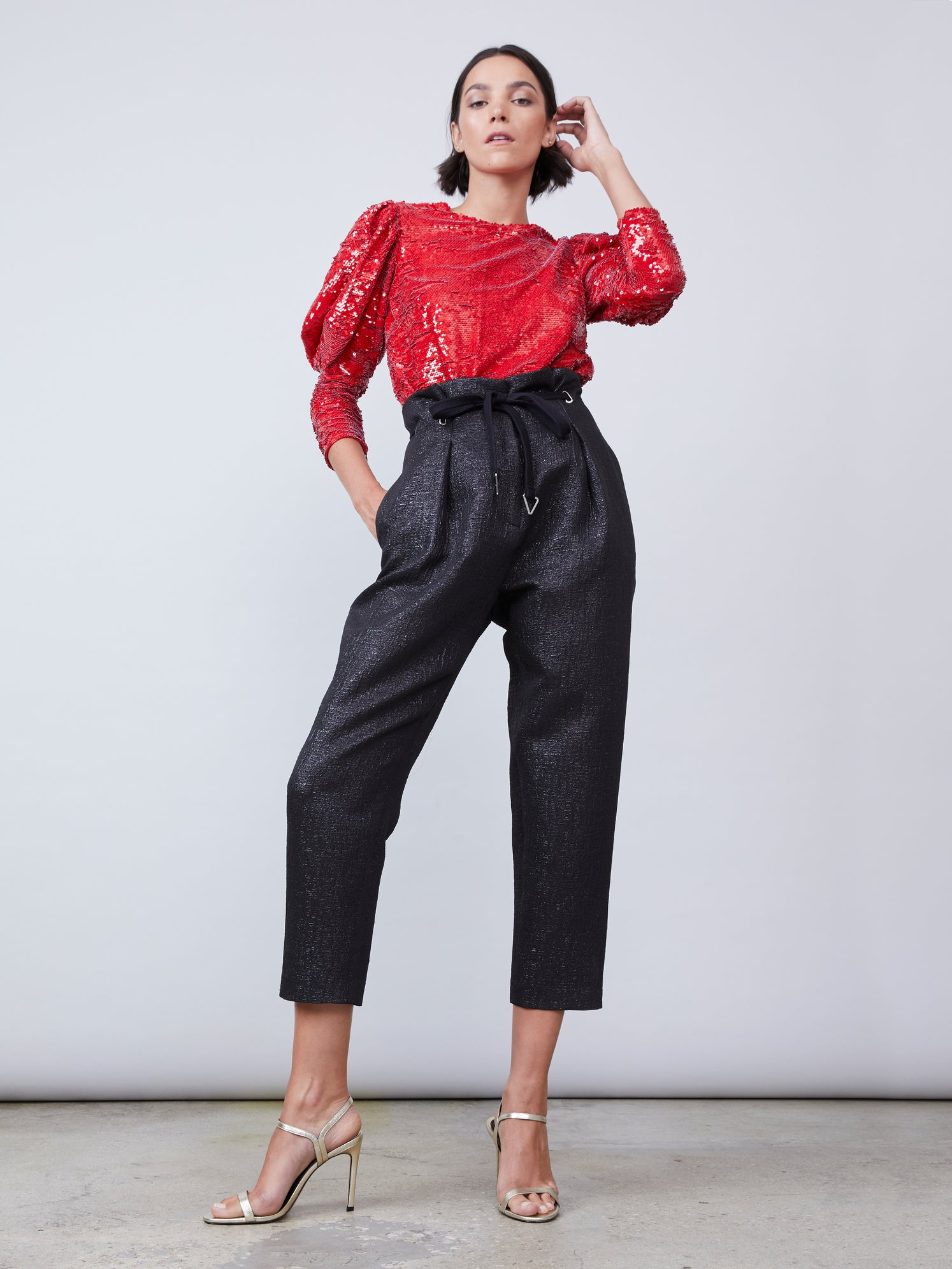 Red sequin puff sleeve blouse featuring 3/4 sleeves