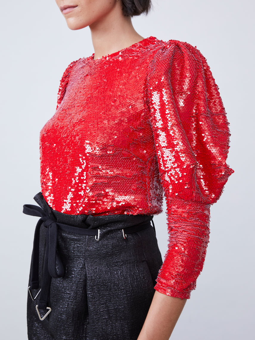 Red sequin puff sleeve blouse featuring 3/4 sleeves Alternate