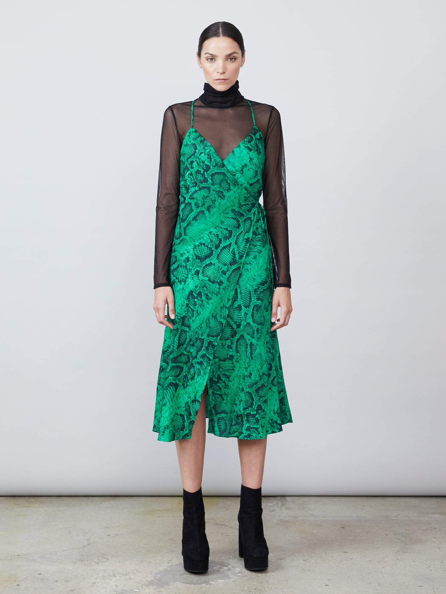 Jacquard snake print v neck dress with sheer turtleneck