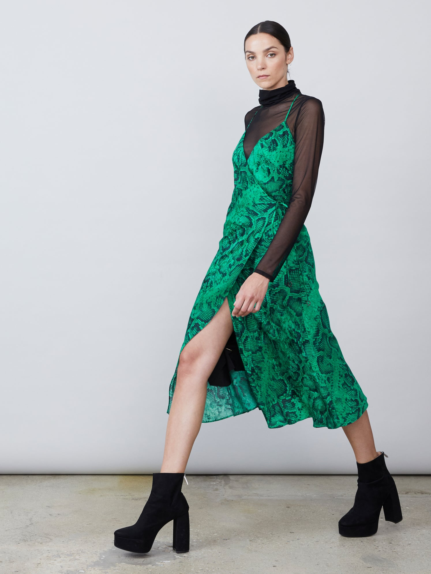 Jacquard snake print v neck dress with sheer turtleneck Alternate