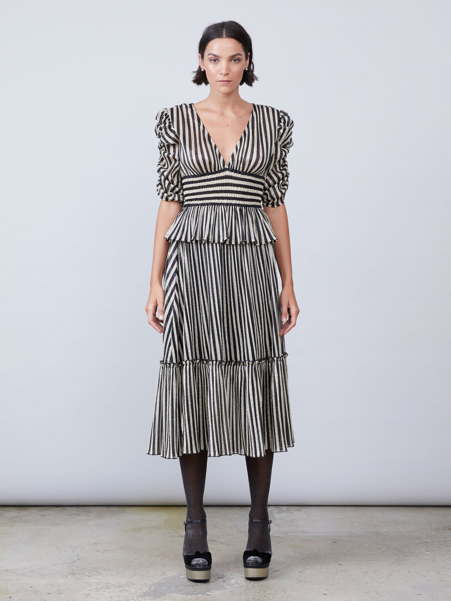 Stripe lurex ruffled skirt