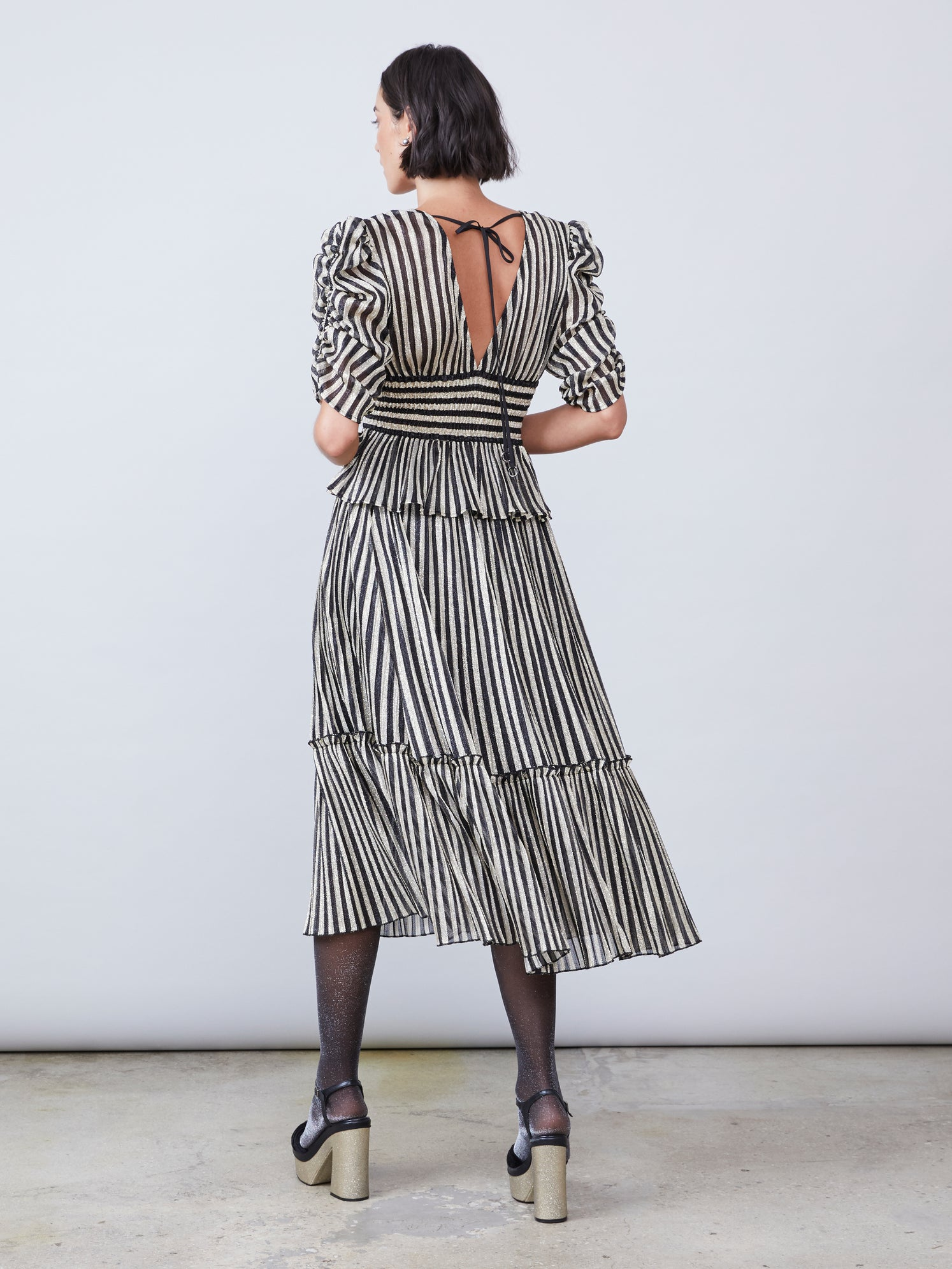 Stripe lurex ruffled skirt Alternate