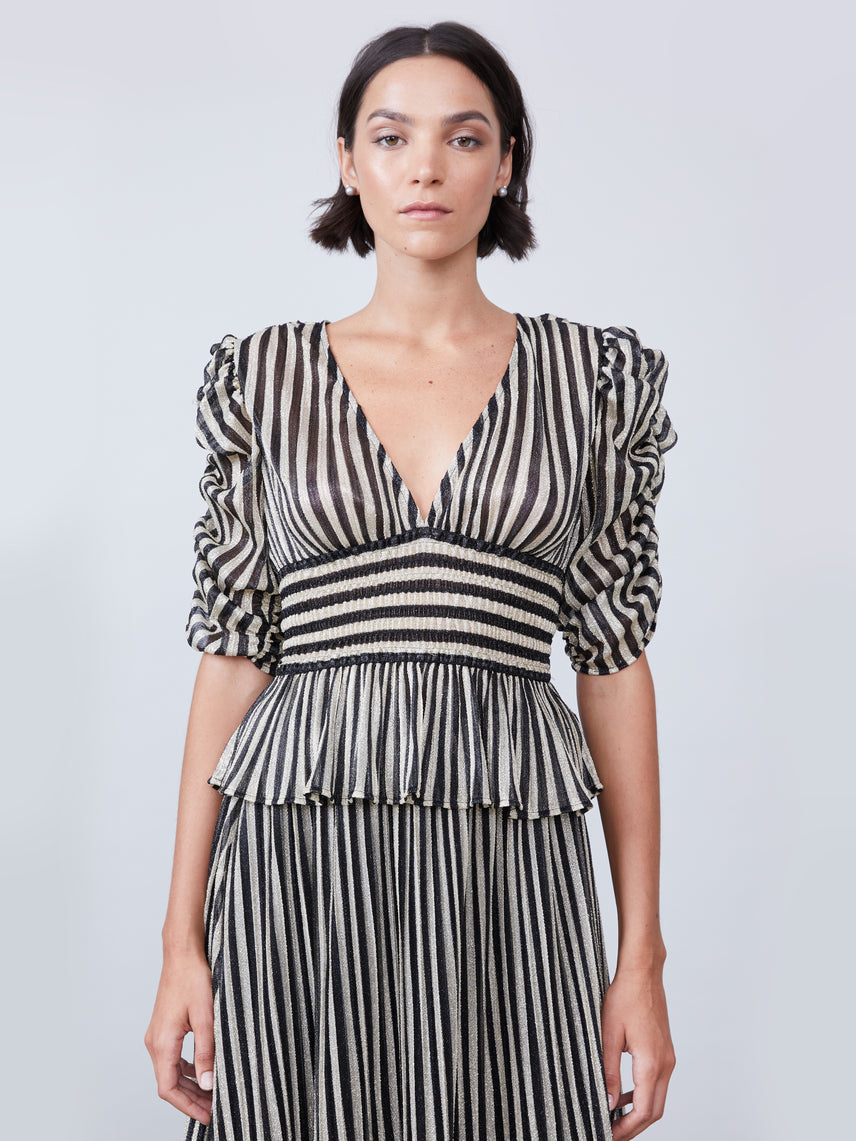 Striped lurex deep-v stop with ruched sleeves