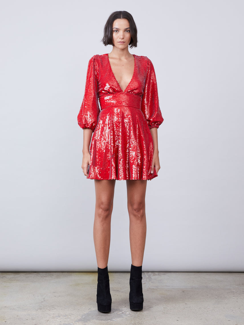 Red sequin deep-v mini dress with puff sleeves Alternate