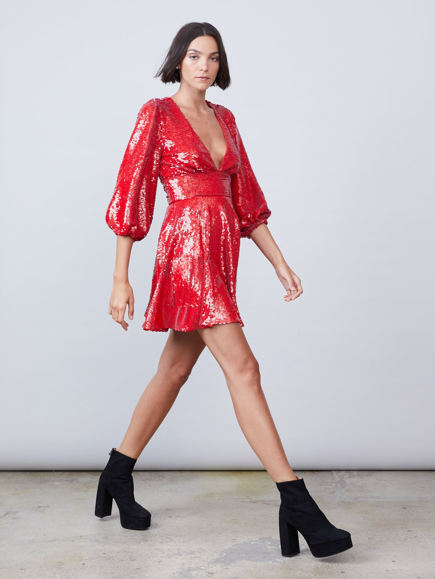 Red sequin deep-v mini dress with puff sleeves