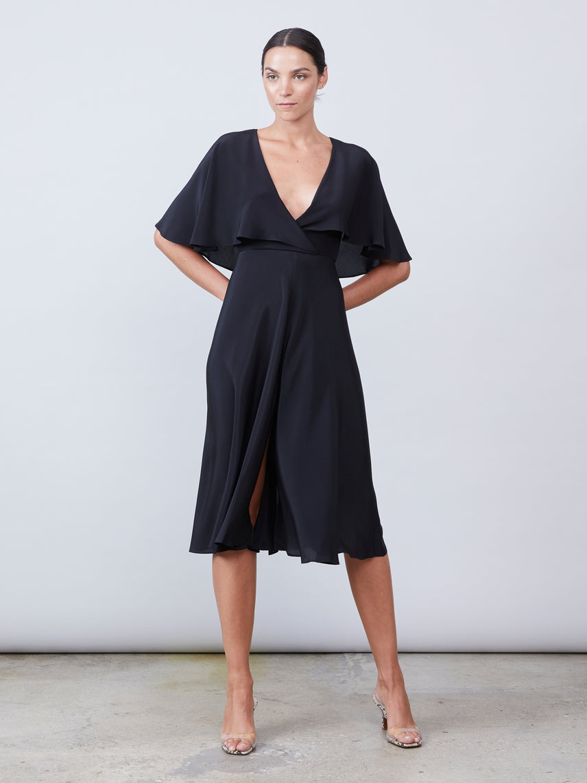 Silk capelet midi dress with exposed cross tie back